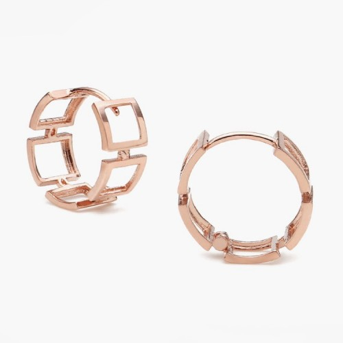 14K Solid Rose Gold Design Hoop Earrings SS0132