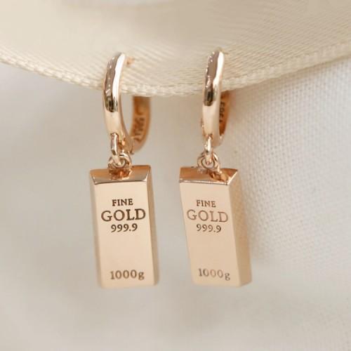 14K Solid Gold Bar Design Earrings SS0131