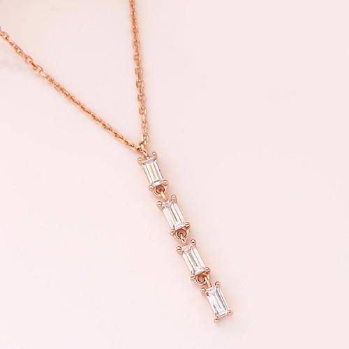 Baguette Diamond Rose Gold Necklace SS2008