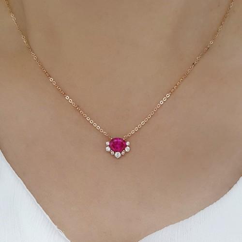 Pink Tourmaline & Diamond Gold Necklace SS2005