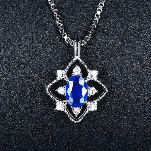 Mavi Safir Ve Pırlanta Vintage Kolye SS2012
