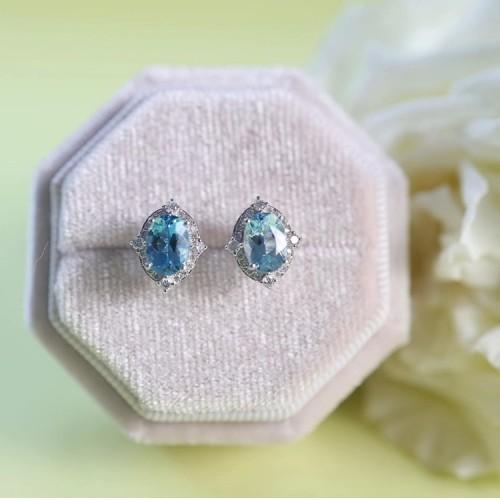 Aquamarine & Diamond Vintage Style Earrings SS3003