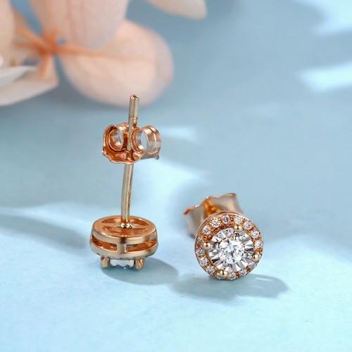 Rose Gold Diamond Effect Earrings SS3008