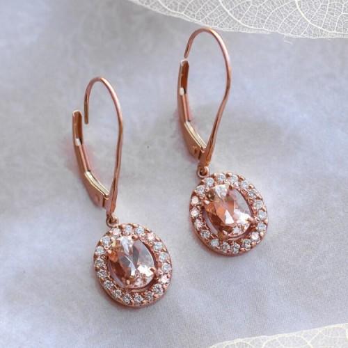 Morganite & Diamond Halo Earrings SS3002
