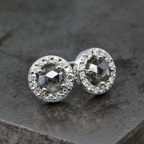 Salt And Pepper & Diamond Stud Earrings SS3006