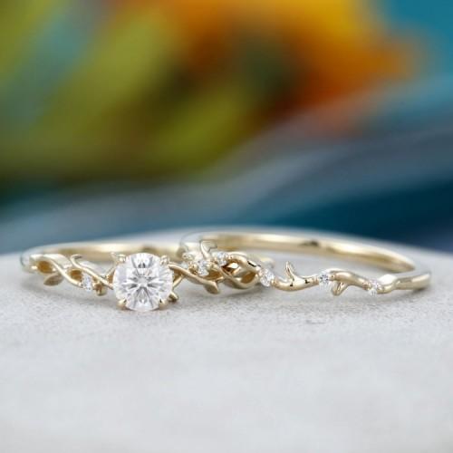 2 PCS Diamond Set Rings Solid Gold SS0022