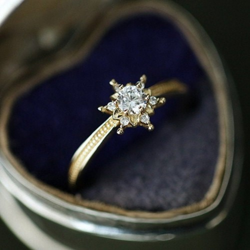 Snowflake Diamond Solitaire Ring HRD Certificate SS0073