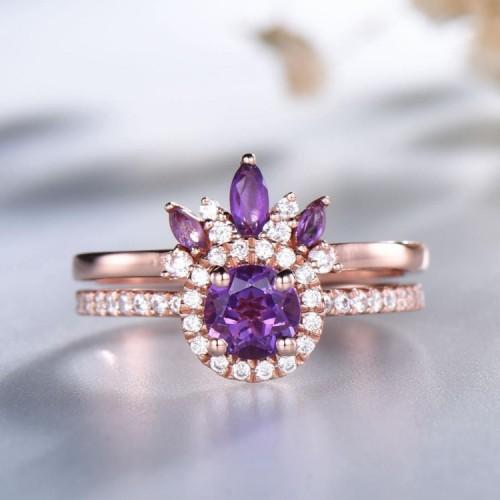 Amethyst & Diamond 2PCS Set Ring SS0038