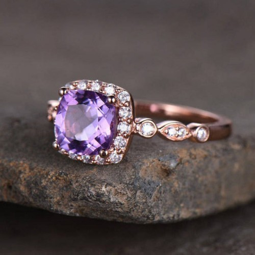 Cushion Amethyst & Diamond Vintage Ring SS0079