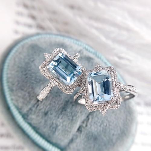 Emerald Cut Aquamarine & Diamond Design Ring SS0153