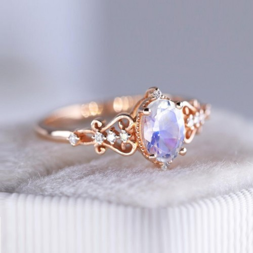Oval Moonstone & Diamond Vintage Ring SS0180