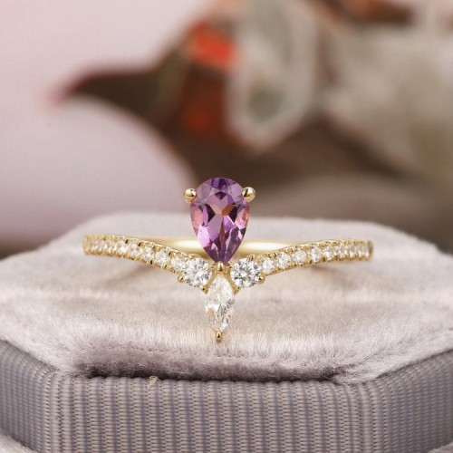Amethyst & Diamond Curved Ring SS0062