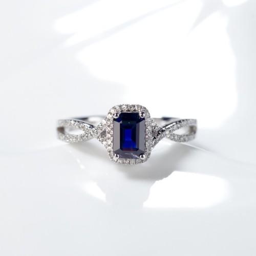 Emerald Kesim Mavi Safir Taşlı Pırlanta Yüzük SS0006