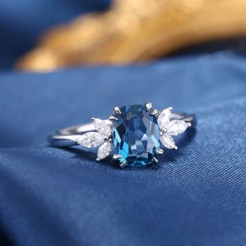 London Blue Topaz & Diamond Ring SS0009
