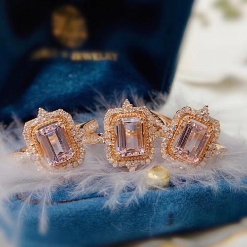 Emerald Cut Morganite & Diamond Vintage Ring SS0144