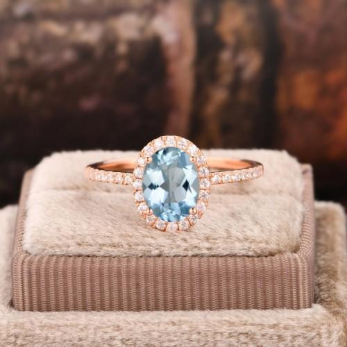 Aquamarine & Diamond Classic Gold Ring SS0103