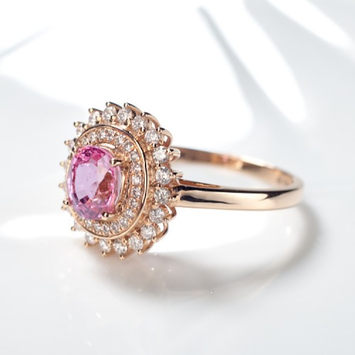 Oval Pink Sapphire & Diamond Gold Ring SS0050