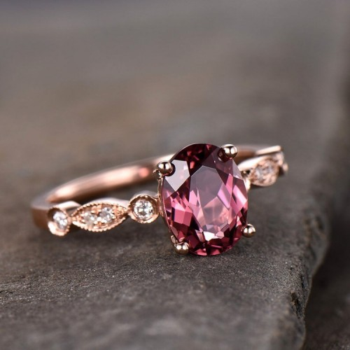 Pink Tourmaline & Diamond Vintage Ring SS0078