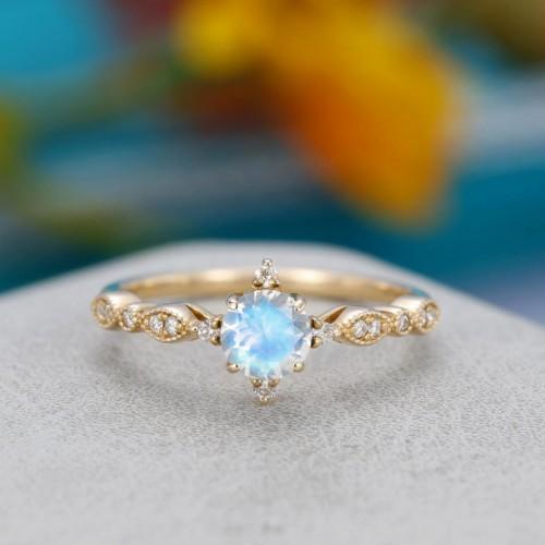 Moonstone & Diamond Vintage Gold Ring SS0174