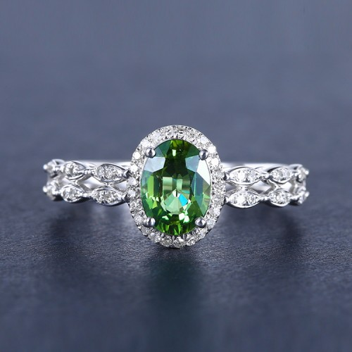 Yeşil Safir Ve Pırlantalı Vintage Yüzük SS0071