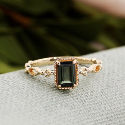 Emerald Cut Green Tourmaline Vintage Ring SS0159