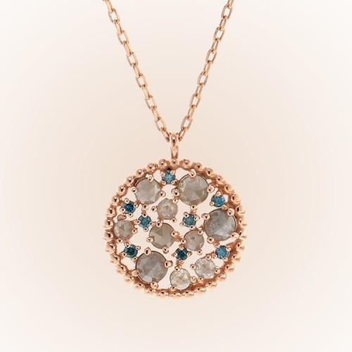 Grey Color Rough Diamond Gold Necklace SS0148